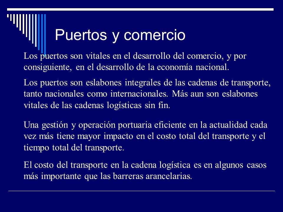 Puertos y comercio Los puertos son vitales en el desarrollo del comercio, y por consiguiente, en el desarrollo de la economía nacional.