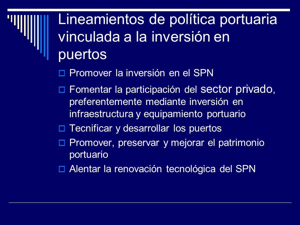 Lineamientos de política portuaria vinculada a la inversión en puertos