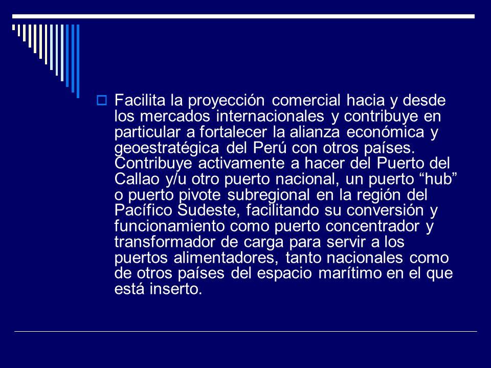 Facilita la proyección comercial hacia y desde los mercados internacionales y contribuye en particular a fortalecer la alianza económica y geoestratégica del Perú con otros países.