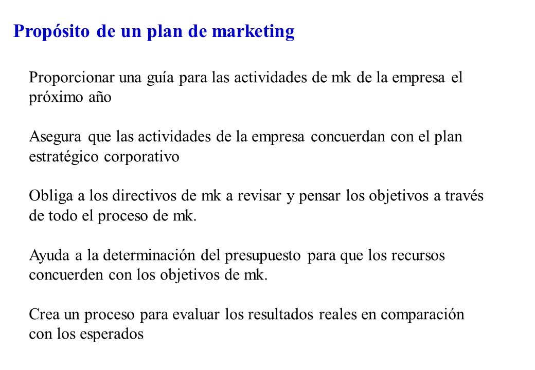 Propósito de un plan de marketing