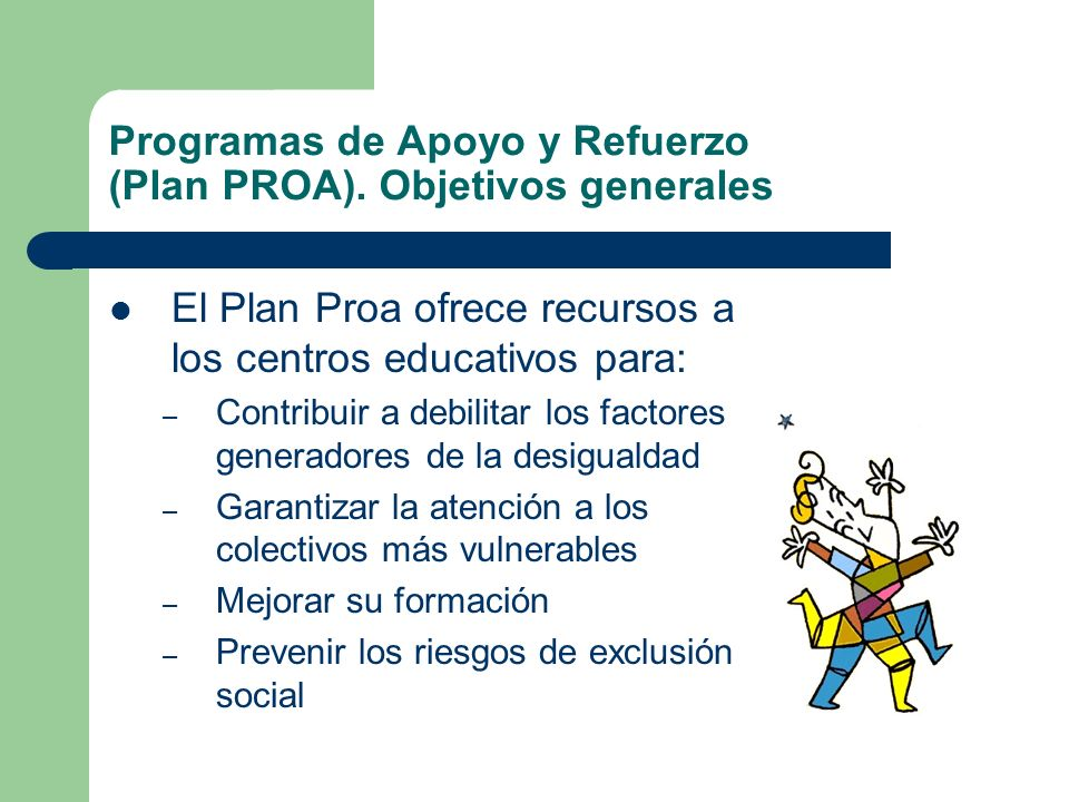 Programas de Apoyo y Refuerzo (Plan PROA). Objetivos generales