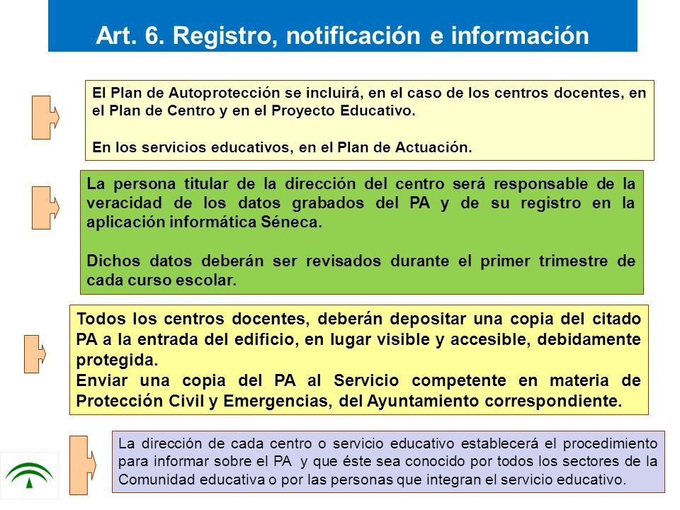 Art. 6. Registro, notificación e información