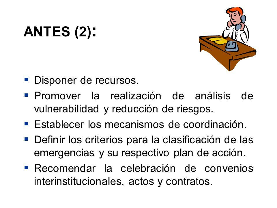 ANTES (2): Disponer de recursos.