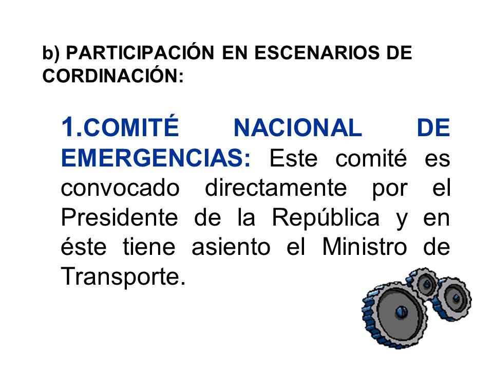 b) PARTICIPACIÓN EN ESCENARIOS DE CORDINACIÓN:
