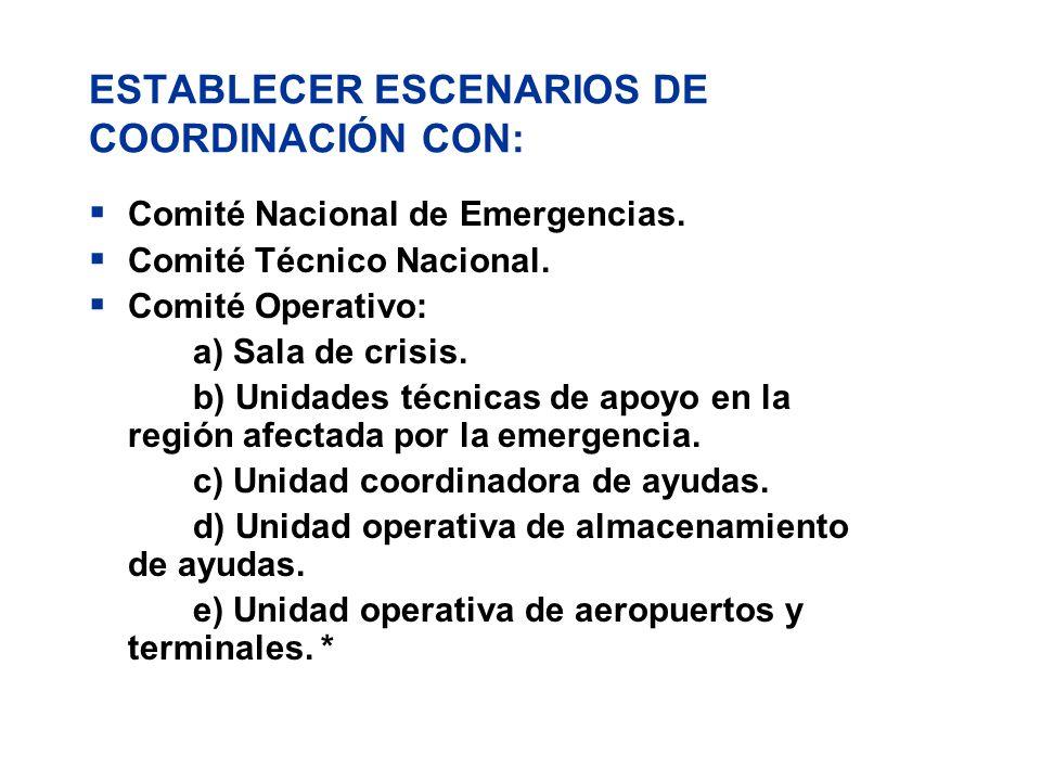 ESTABLECER ESCENARIOS DE COORDINACIÓN CON:
