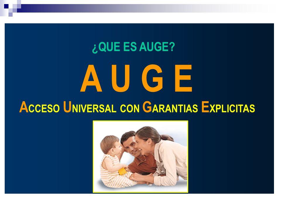 ¿QUE ES AUGE A U G E ACCESO UNIVERSAL CON GARANTIAS EXPLICITAS