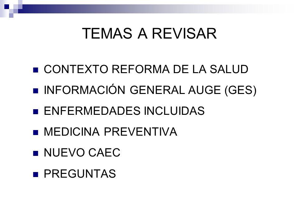 TEMAS A REVISAR CONTEXTO REFORMA DE LA SALUD