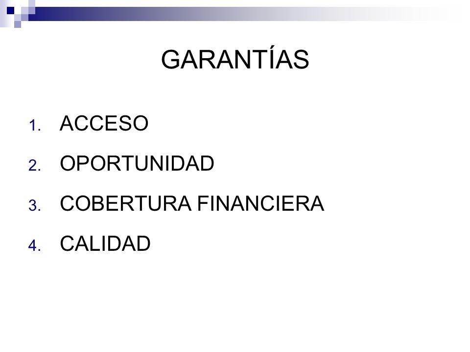 GARANTÍAS ACCESO OPORTUNIDAD COBERTURA FINANCIERA CALIDAD
