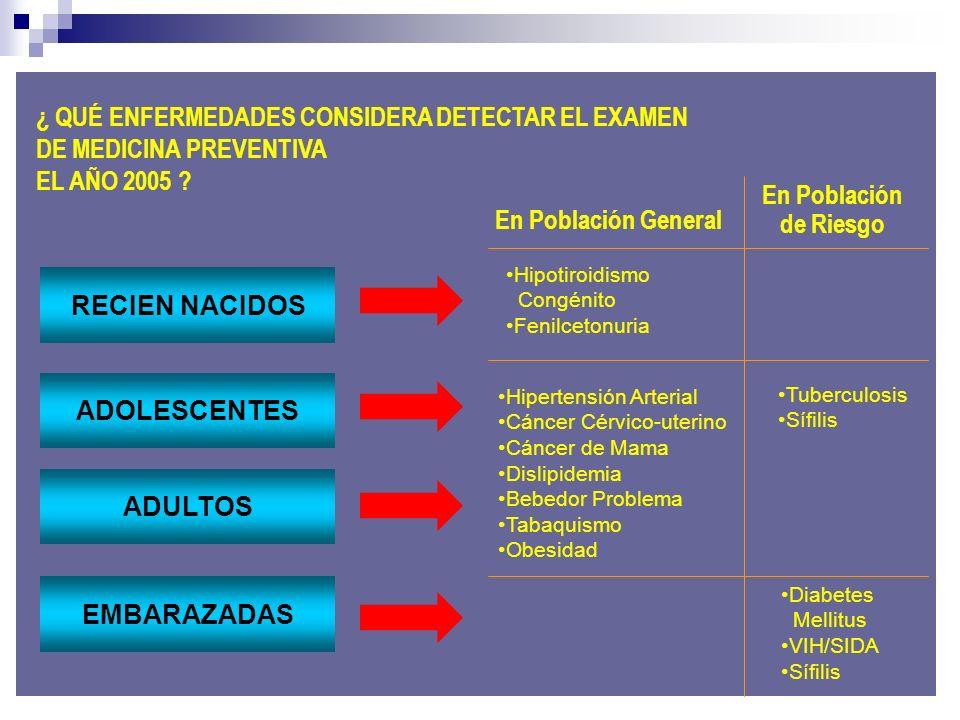 ¿ QUÉ ENFERMEDADES CONSIDERA DETECTAR EL EXAMEN DE MEDICINA PREVENTIVA