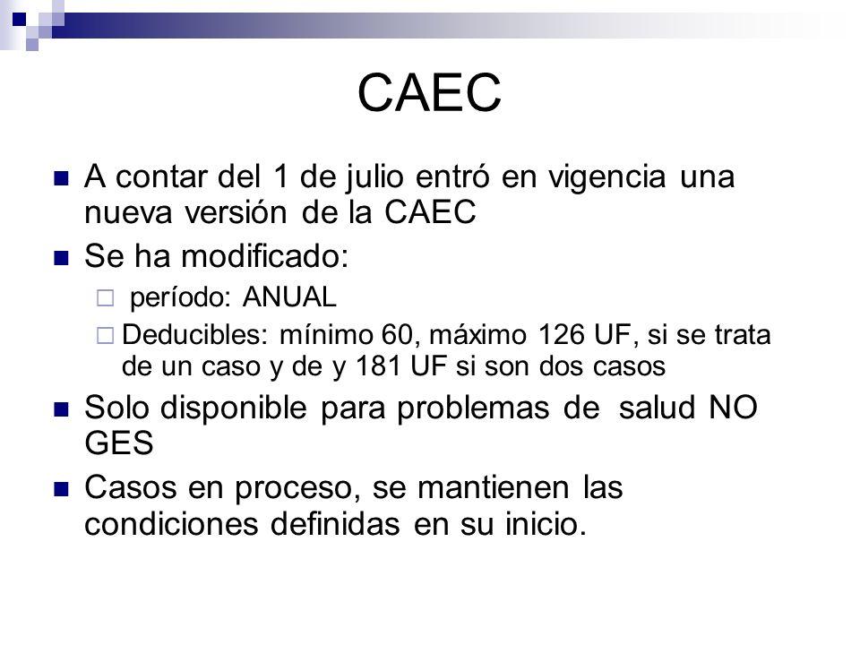 CAEC A contar del 1 de julio entró en vigencia una nueva versión de la CAEC. Se ha modificado: período: ANUAL.