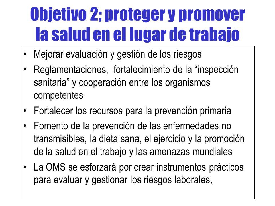 Objetivo 2; proteger y promover la salud en el lugar de trabajo