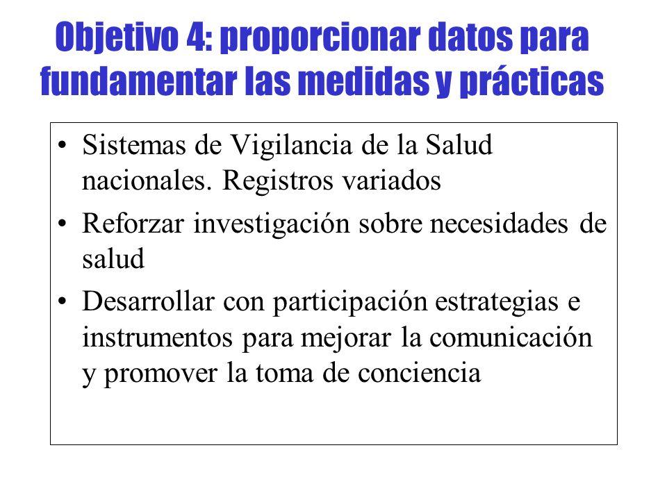 Objetivo 4: proporcionar datos para fundamentar las medidas y prácticas