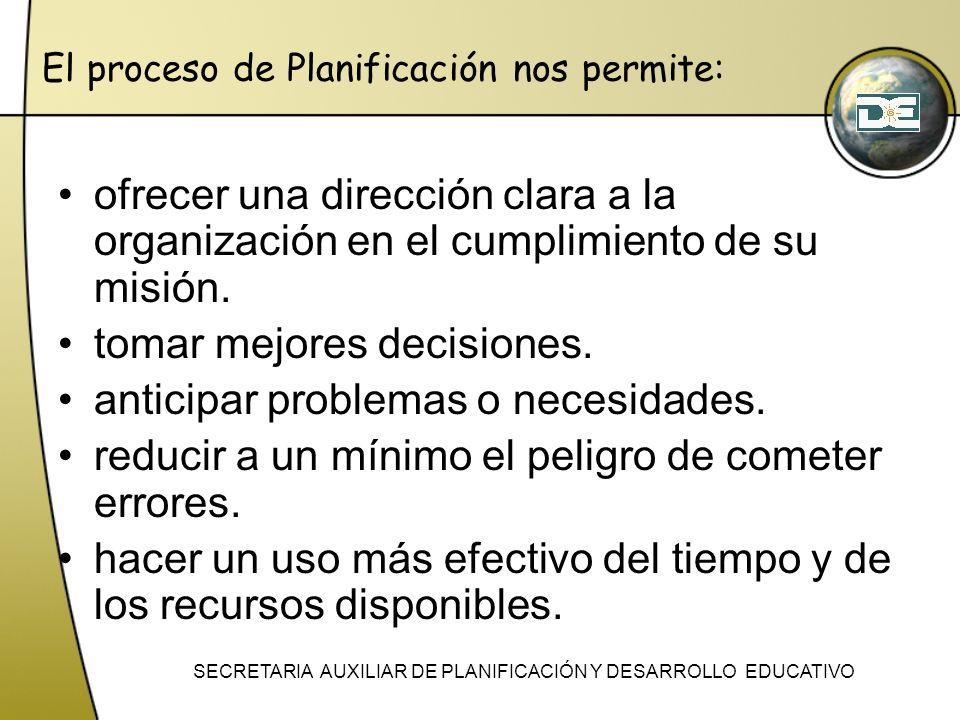 El proceso de Planificación nos permite: