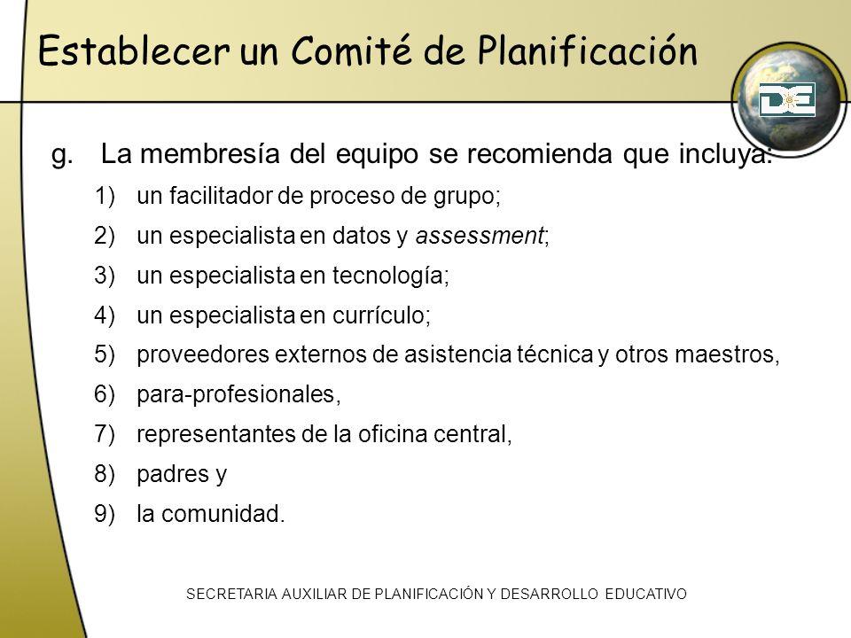 Establecer un Comité de Planificación