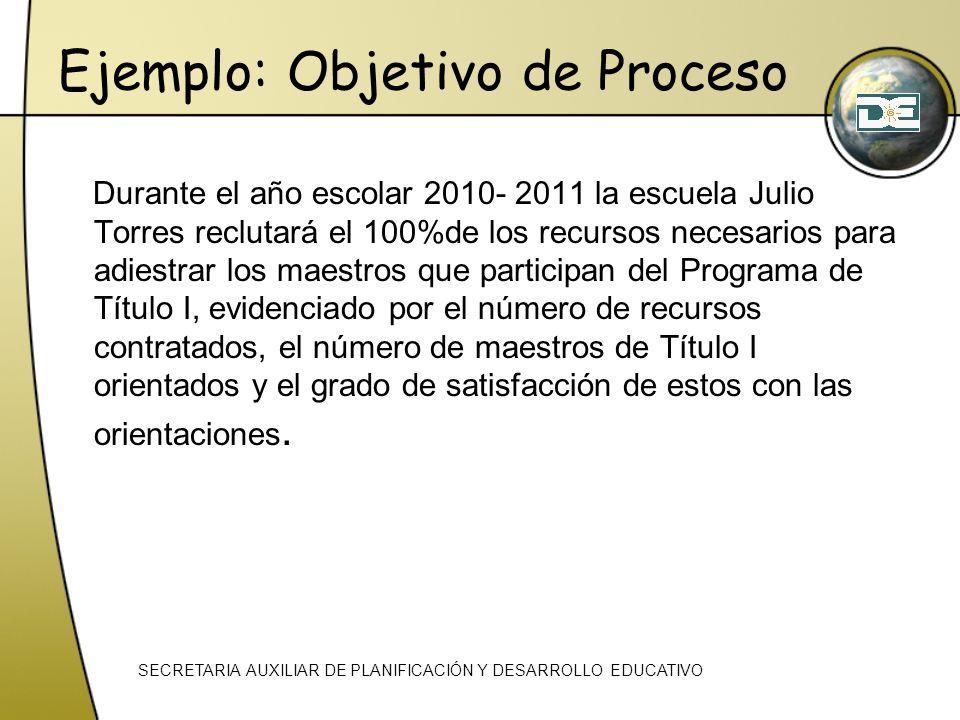 Ejemplo: Objetivo de Proceso