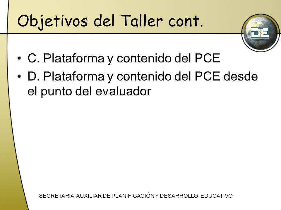 Objetivos del Taller cont.