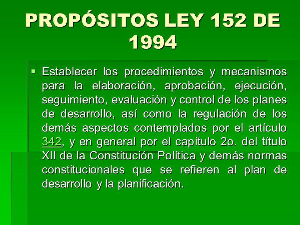 PROPÓSITOS LEY 152 DE 1994