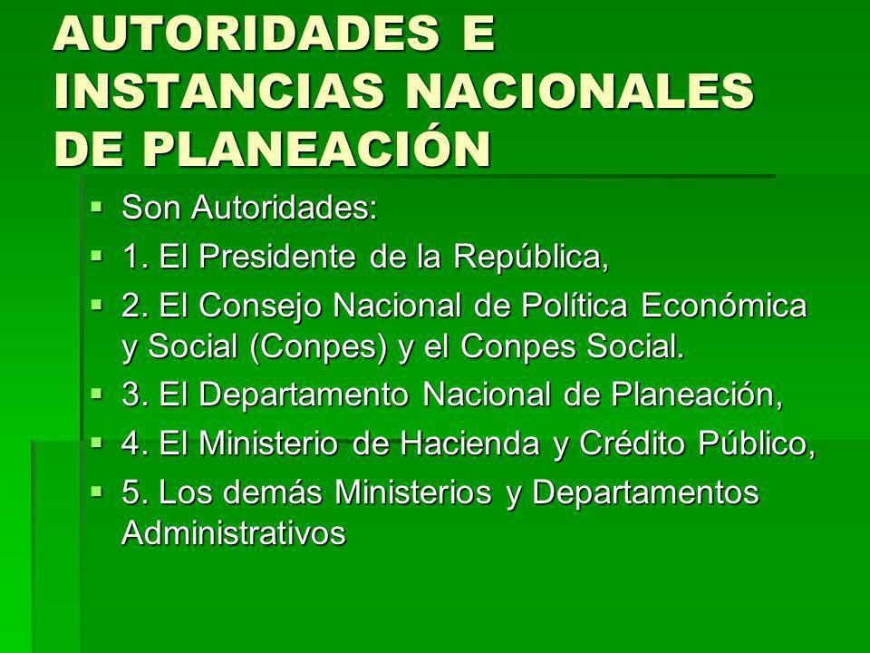 AUTORIDADES E INSTANCIAS NACIONALES DE PLANEACIÓN