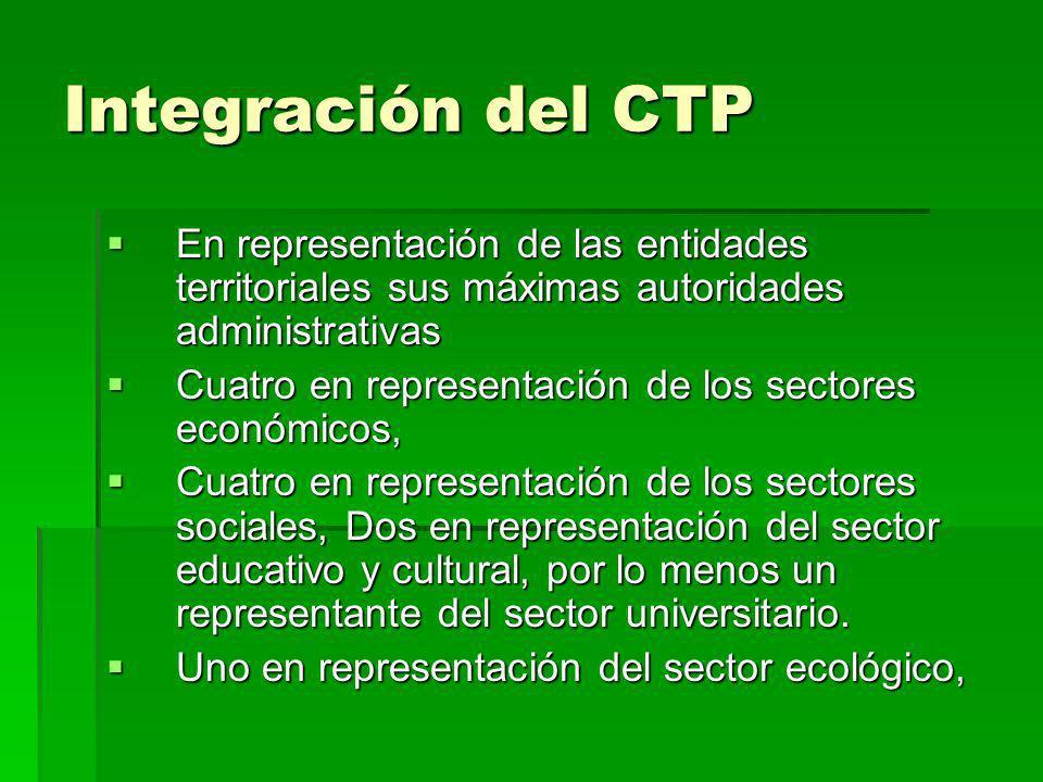 Integración del CTP En representación de las entidades territoriales sus máximas autoridades administrativas.