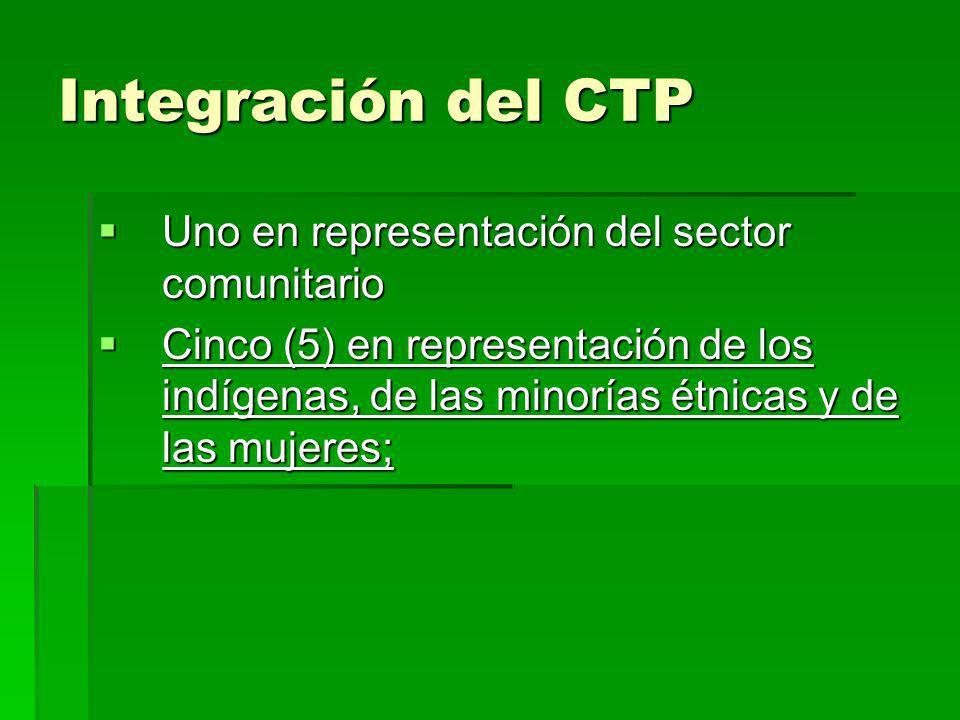 Integración del CTP Uno en representación del sector comunitario