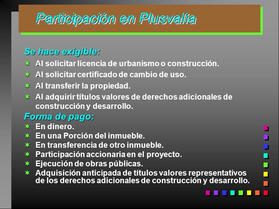 Participación en Plusvalía