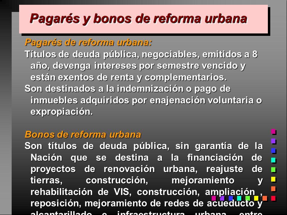 Pagarés y bonos de reforma urbana