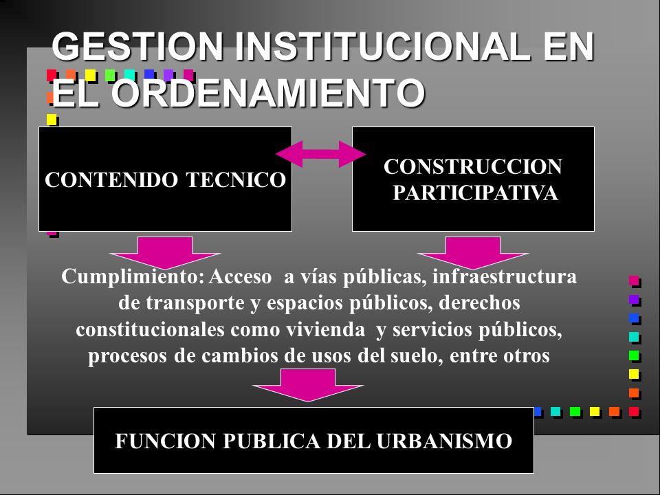GESTION INSTITUCIONAL EN EL ORDENAMIENTO