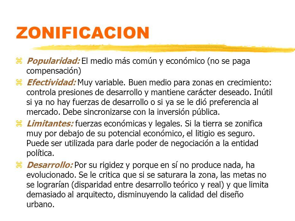 ZONIFICACION Popularidad: El medio más común y económico (no se paga compensación)