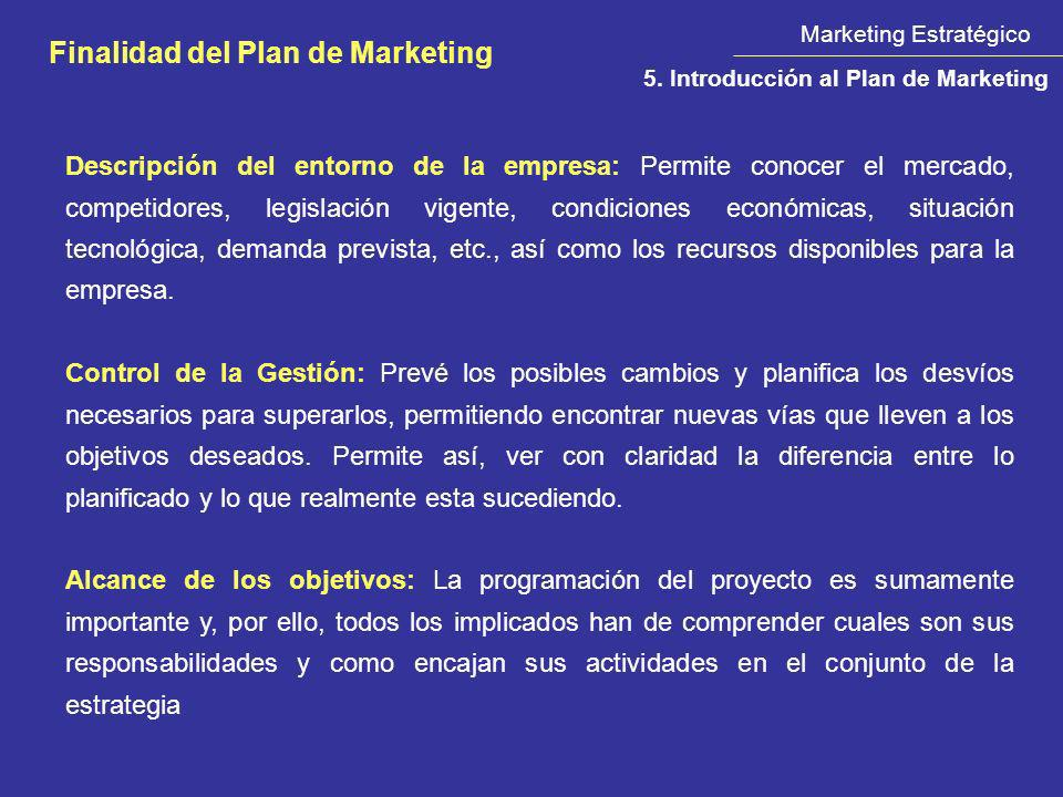 Finalidad del Plan de Marketing