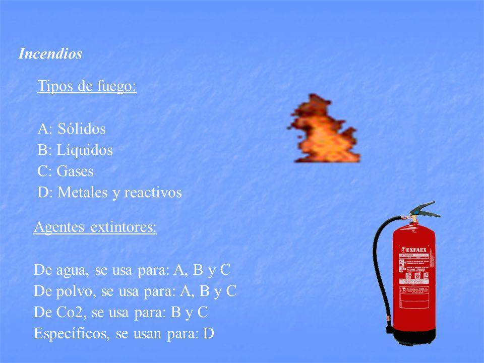 Incendios Tipos de fuego: A: Sólidos. B: Líquidos. C: Gases. D: Metales y reactivos. Agentes extintores: