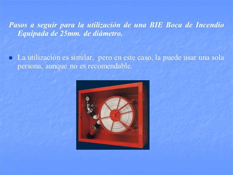 Pasos a seguir para la utilización de una BIE Boca de Incendio Equipada de 25mm. de diámetro.