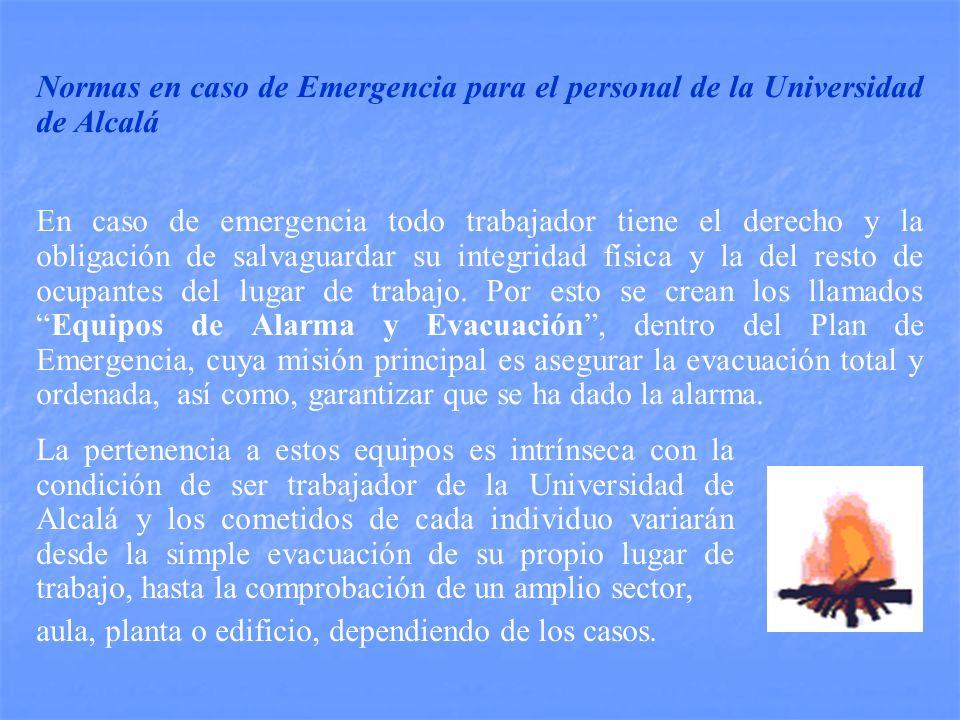 Normas en caso de Emergencia para el personal de la Universidad de Alcalá