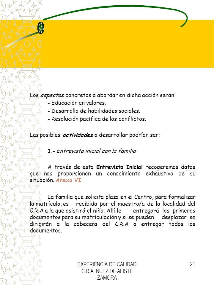 EXPERIENCIA DE CALIDAD C.R.A. NUEZ DE ALISTE ZAMORA