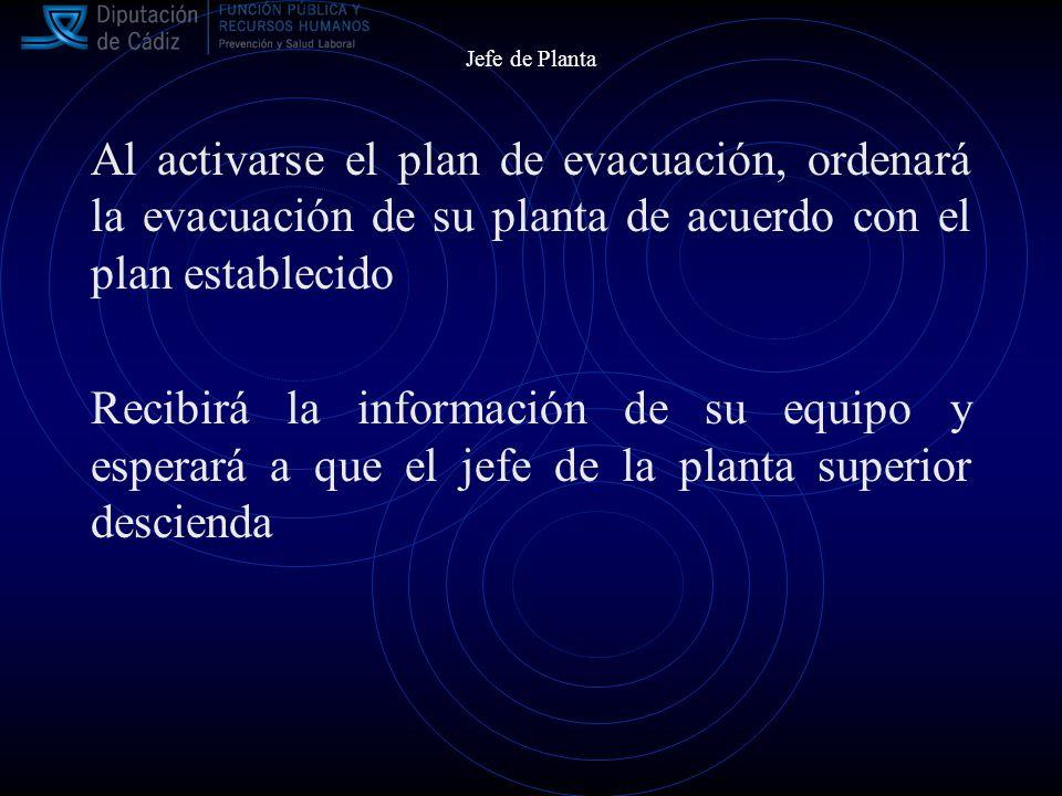 Jefe de Planta Al activarse el plan de evacuación, ordenará la evacuación de su planta de acuerdo con el plan establecido.