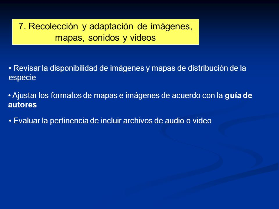 7. Recolección y adaptación de imágenes, mapas, sonidos y videos