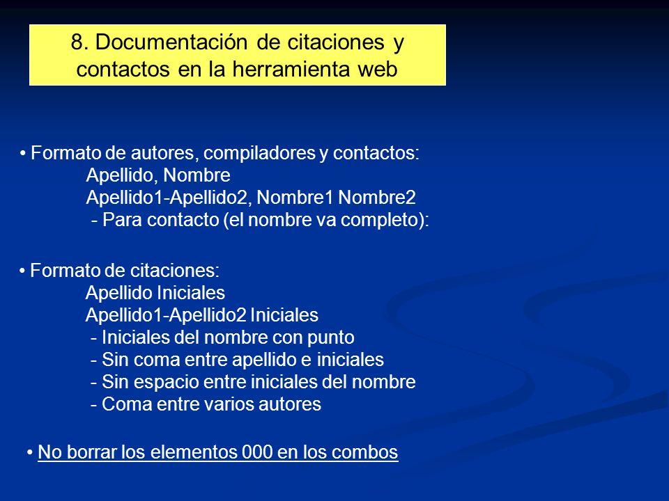 8. Documentación de citaciones y contactos en la herramienta web