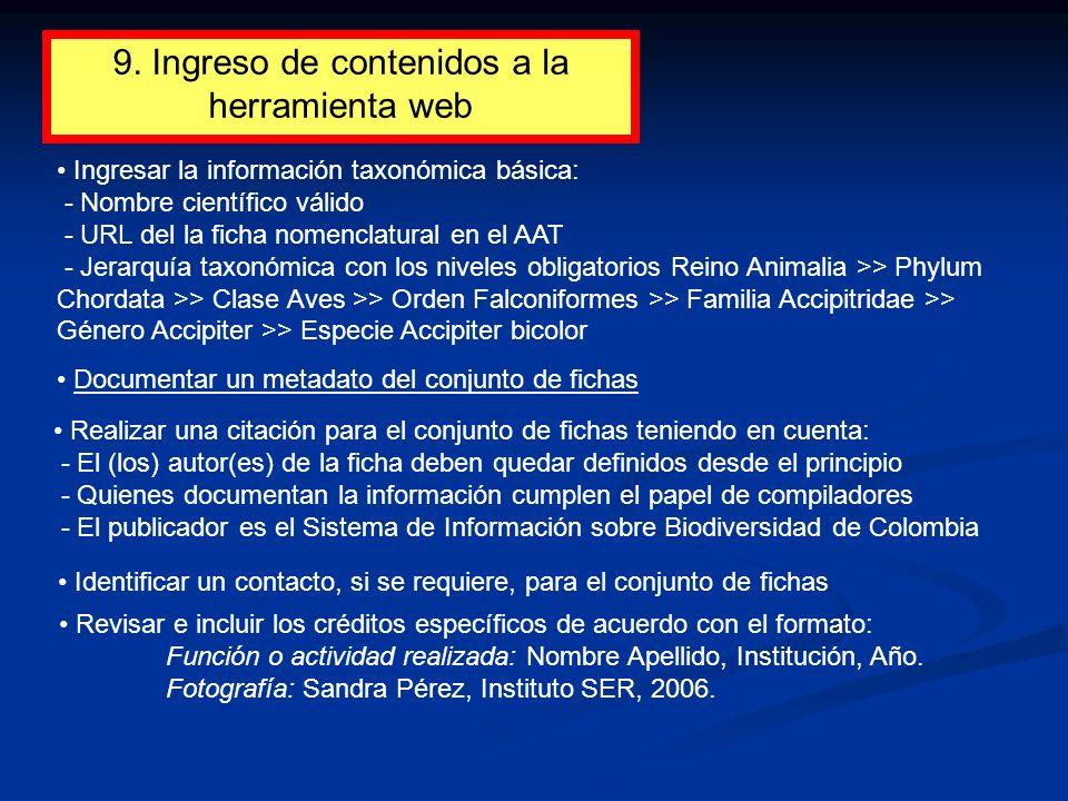 9. Ingreso de contenidos a la herramienta web
