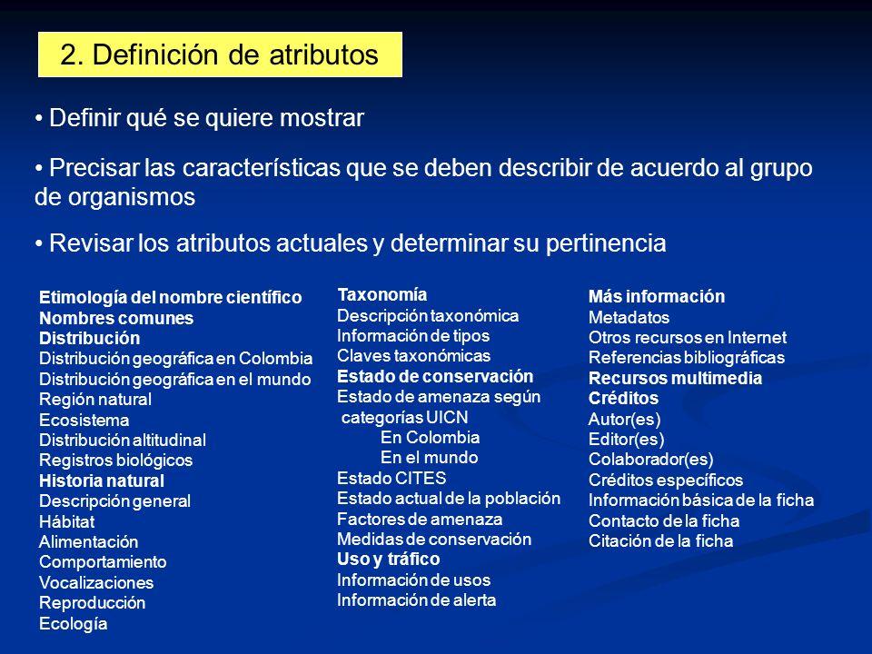 2. Definición de atributos