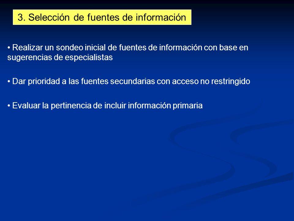 3. Selección de fuentes de información