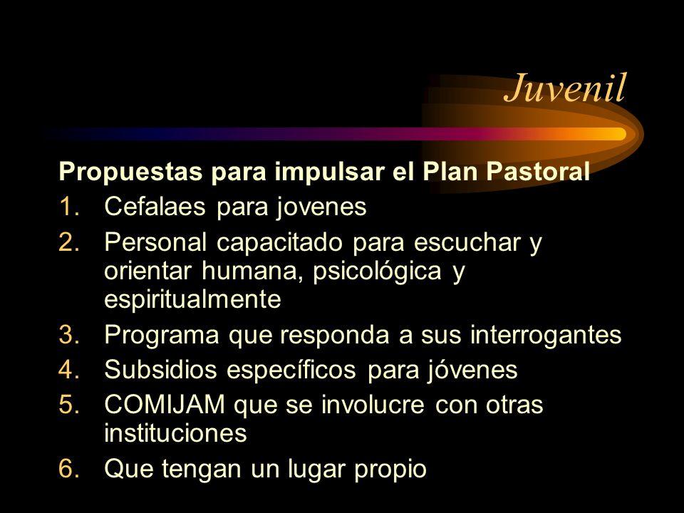 Juvenil Propuestas para impulsar el Plan Pastoral