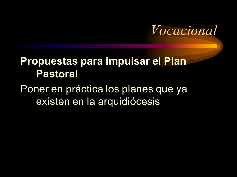 Vocacional Propuestas para impulsar el Plan Pastoral