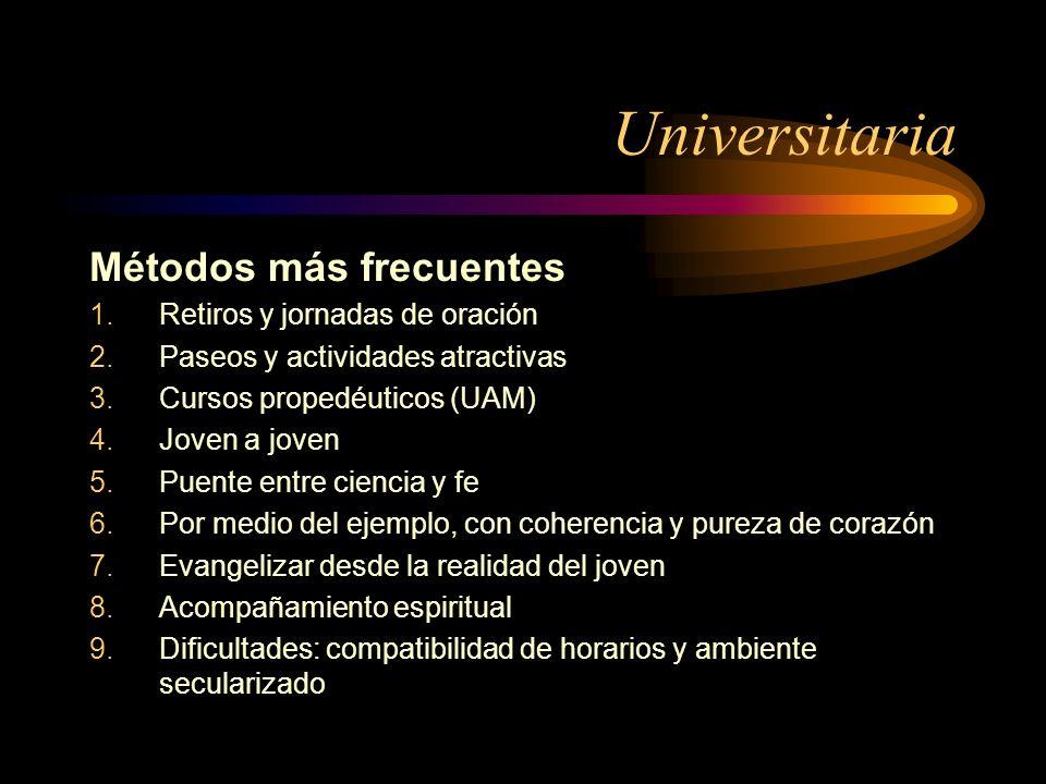 Universitaria Métodos más frecuentes Retiros y jornadas de oración