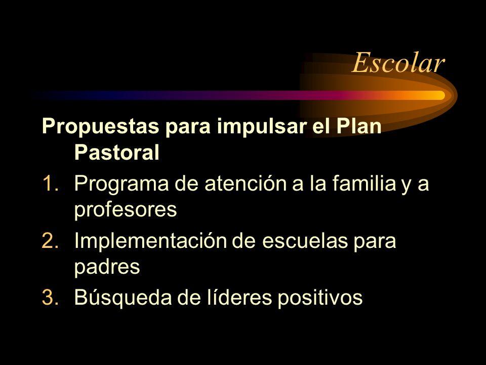Escolar Propuestas para impulsar el Plan Pastoral