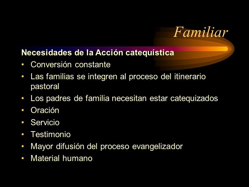 Familiar Necesidades de la Acción catequística Conversión constante