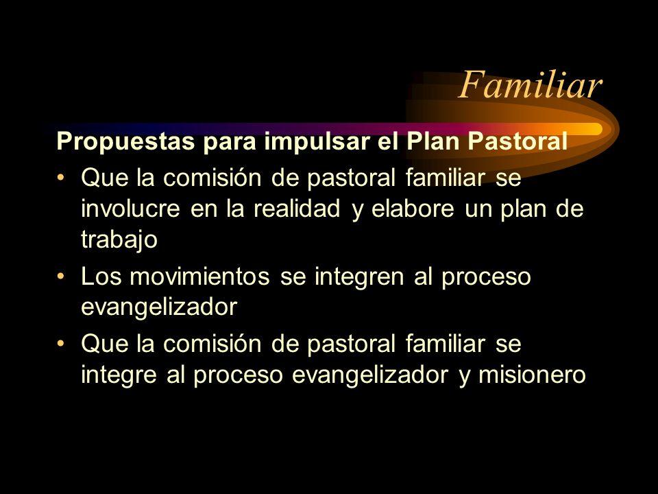 Familiar Propuestas para impulsar el Plan Pastoral
