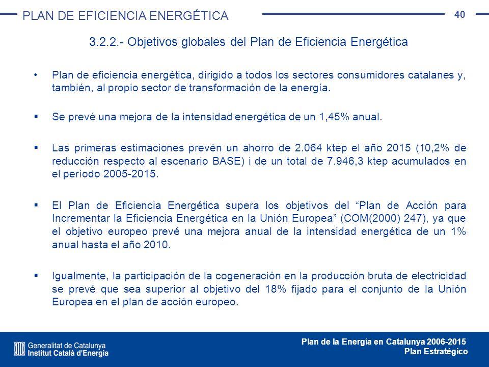 3.2.2.- Objetivos globales del Plan de Eficiencia Energética