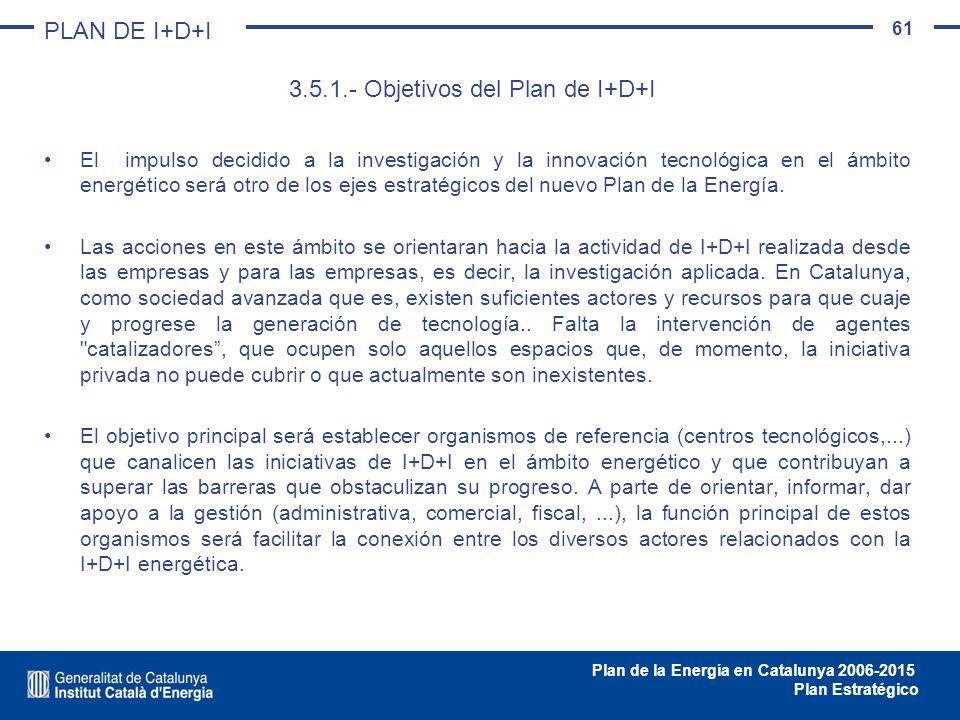 3.5.1.- Objetivos del Plan de I+D+I