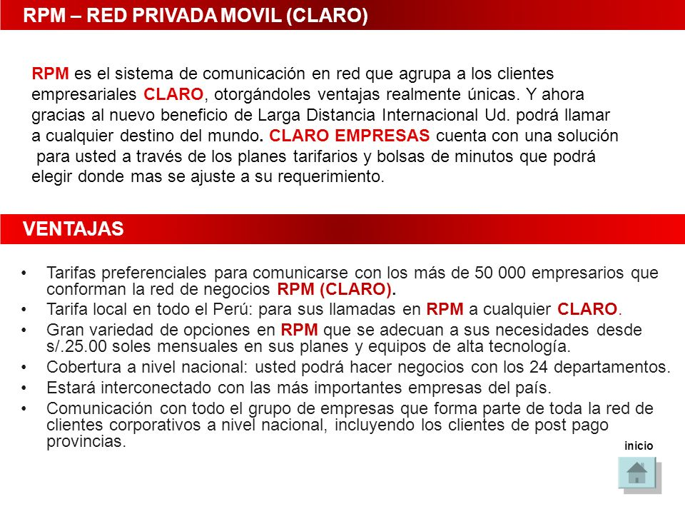RPM – RED PRIVADA MOVIL (CLARO)