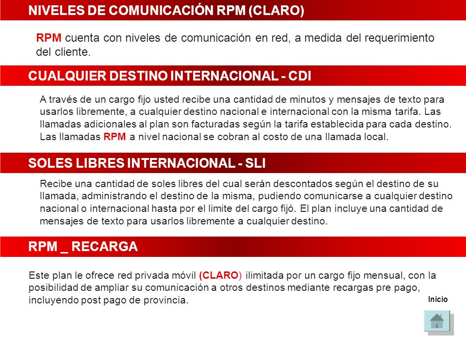 NIVELES DE COMUNICACIÓN RPM (CLARO)