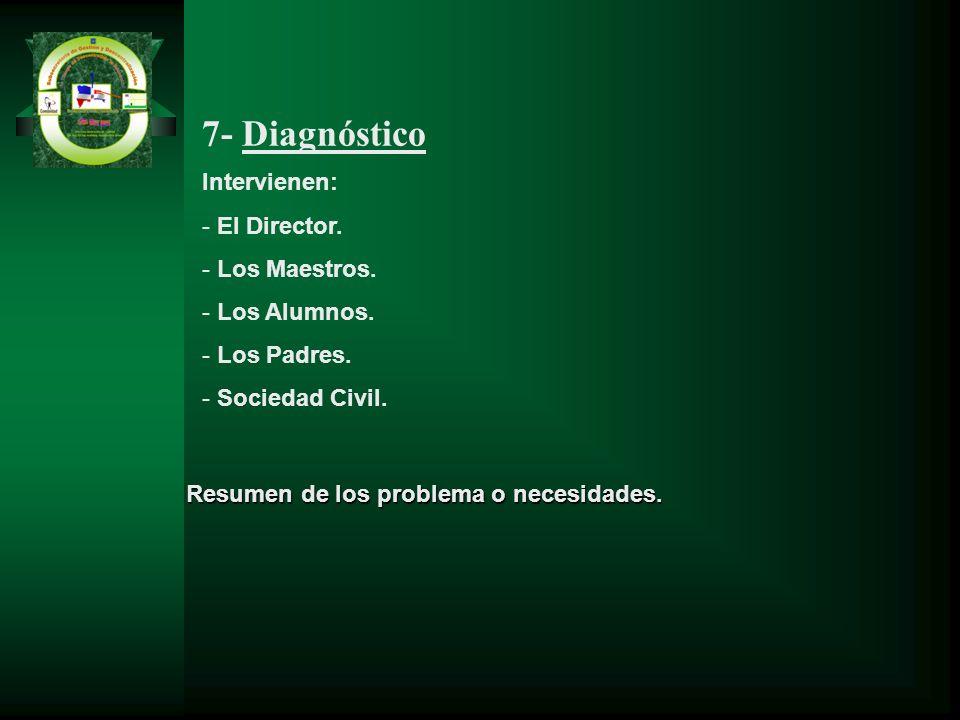 7- Diagnóstico Intervienen: El Director. Los Maestros. Los Alumnos.